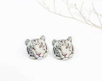 White tiger earrings , Bleached tiger earrings , Bengal tiger jewelry , Animal earrings , Wildlife jewely , Tiger lover gift , Animal lover