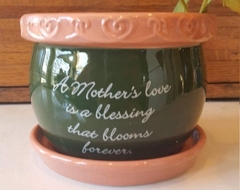Mothers Day, Gift for Mom, Planter, Flower Pot, Garden, Indoor Planting Pot, African Violet, Ivy Ceramic Flower Planter