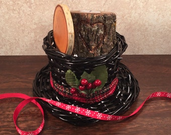 Holiday Natural Tree Wood Gift Basket w/Snowman Hat