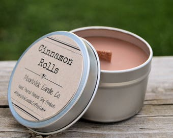 Cinnamon Rolls Soy Candle Tins - 6oz. & 8oz.'s    Soy Candle Tin   Cinnamon Candle   Bakery Candle   Cinnamon Roll Candle   Food Scents