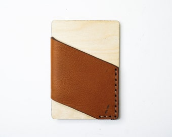 Card holder Wood & Leather - Natural Birch