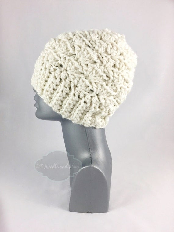 Cream Crochet Hat, Chunky Beige Winter Hat, Soft Crochet Beanie, Warm Off White Ski Cap, Winter White Knit Hat