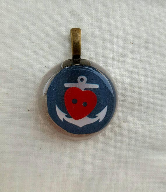 Anchor pendant. Red heart and anchor pendant.
