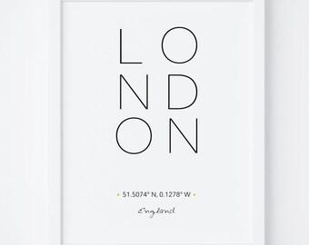 London Print, London Poster, Wall Art, London Wall Art, Home Decor, Travel Prints, Modern Art, City Poster, Printable Art, Typography Print