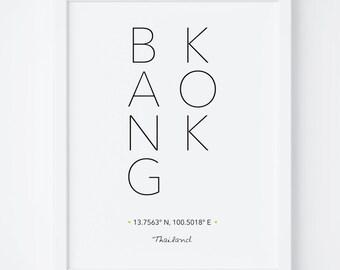 Bangkok Print, Bangkok Poster, Bangkok Printable, Bangkok Wall Art, City Coordinates, Typography art, Wall Art, Printable Art, Digital Print