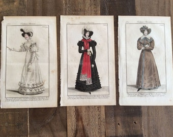 Set of 3 Antique Hand Colored Book Plates, Costume Parisien, French, 1822 Engravings/Etchings
