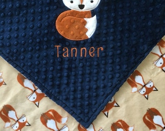 Fox Baby Blanket, Fox Minky Baby Blanket, Navy Fox Minky Blanket, Double Minky Blanket, Personalized Blanket