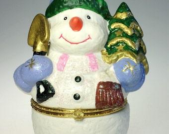 Large Snowman Hinged Trinket Box Ceramic Art Pottery Christmas Holiday