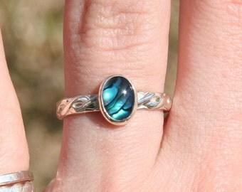 Blue Paua Shell Ring ~ Sterling Silver Paua Shell Ring ~ Sea Opal ~