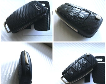 AUDI Flip Key Carbon Fiber Look Keyring Fob Decal Sticker Wrap Overlay A1 A2 A3 A4 A5 A6 Tt S3 S4 S5 Q3 Q5 Q7 R8 8j 8p 8k - Carbon Black