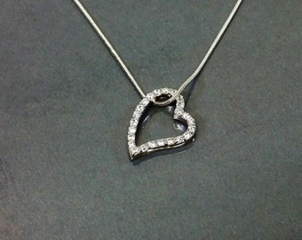 Heart silver pendant 925 Crystal stones SK982