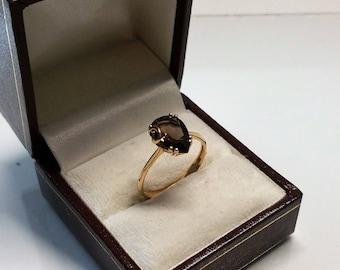 Vintage ring gold 585 with smoky quartz elegant GR306