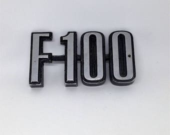 Ford F-100 Car Emblem, Silver Metal F100 Car Emblem, Vintage Ford Emblems, Ford Memorabilia, Vintage Ford Accessories