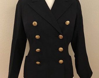 1940's British Military Royal Navy Reserve Jacket Double Breasted Navy Wool- Small