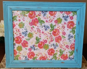 Aqua Picture Frame; Painted and Distressed Aqua Picture Frame, 8x10 Aqua Picture Frame, Shabby Chic Picture Frame