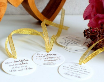 Wedding bubble tags, tags for bubbles, celebration tags, their love will grow, every love story is beautiful, blow bubbles and wishes