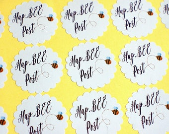 Happy Post stickers, Bee Stickers, custom shape business labels, adhesive labels for mail, Happy mail labels, stickers