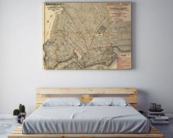 Vintage Brooklyn Map| Brooklyn Map| Brooklyn| New York City Map| Old Wall Map| New York Map| Old Maps| USA Maps| Brooklyn Wall Decor| AMC034