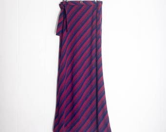 Maxi Skirt - Vintage Skirt - Long Skirts for Women - Boho Skirt - Long Skirt - Vintage Clothing - Bohemian Clothing - Navy Red Striped Skirt