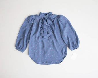 blue floral blouse | dabney paris blouse | jabot ruffle blouse
