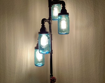 Pipe Floor Lamp 4-fixture DOES NOT Include Bulbs Living Room Steampunk Vintage Blue Mason Jar