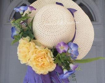 Ready to Ship Garden Hat Wreath//Door Wreath/Everyday/Gardening Decor/Welcome/Year Round/All Season/Peonies/Housewarming Gift/Birthday Gift