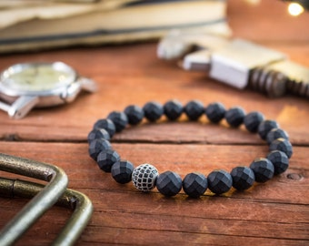 8mm - Faceted black onyx beaded stretchy bracelet with a silver micro pave ball, made to order bracelet, mens bracelet, womens bracelet