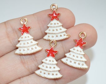 2 Pcs Christmas Tree Charms Goldplated Enamel Charms 16x22mm - C21