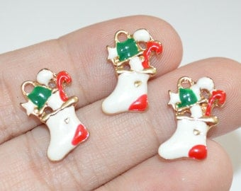 3 Pcs Christmas Stocking Charms Gold plated Enamel Charms 13x17mm - C17