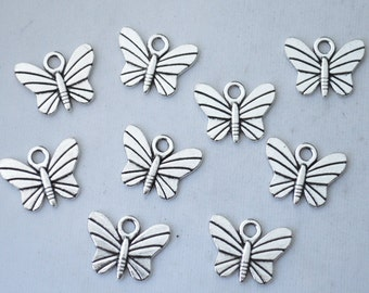 12 Pcs Butterfly Charms Antique Silver Tone 15x12mm - YD1660