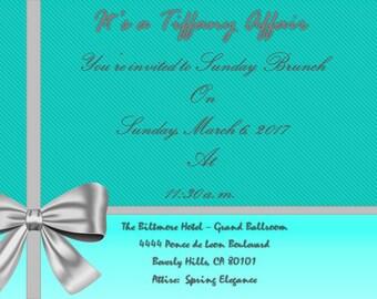 Breakfast at Tiffany's-Tiffany invitation-turquoise-sophisticated-invitations-silver tiffany bow-sunday brunch-sunday brunch invitations