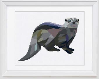 Otter Cross stitch pattern, Otter counted cross stitch pattern, Sea Otter counted cross stitch pdf pattern