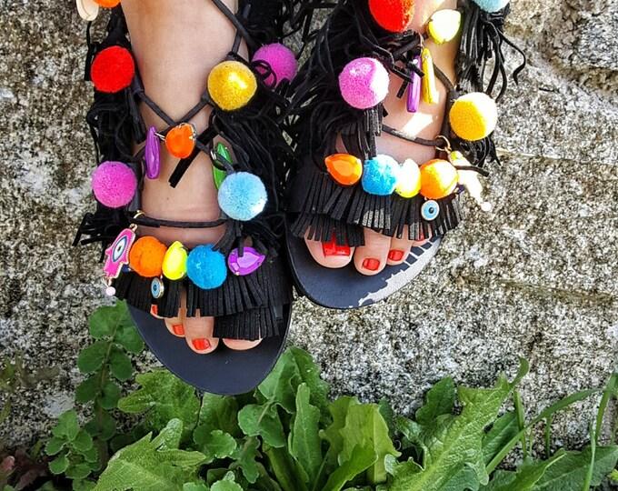 "Greek handmade sandals ""HAPPY BLACK "",boho,ethnic,tie up gladiator sandals,pompom sandals,women's shoes,leather sandals,black Greek sandals"