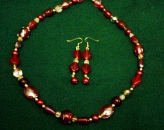 Deep Red Beaded Necklace and Earring Set Glittering Glass