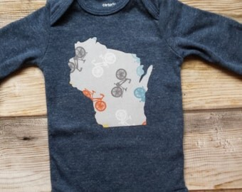 Bike Onesie-Baby Wisconsin Onesie-Custom State Onesie-WI Baby Gift-Wisconsin Baby Gift-Bike Baby Gift-California-Wisconsin Bike Lover Baby