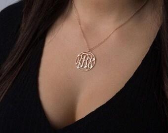 Circle Monogram Necklace - Rose Gold Monogram Necklace - Personalized Necklace - Personalized Monogram Necklace - Personalized Jewelry