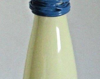 Vintage Modernist Studio Art Glass Cinched Vase Cased Snake Rope Neck Blue Milk Coiled Mid-Century Modern