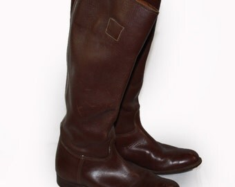 Vintage Womens Tall Cowboy Boots Brown Leather Riding Equestrian Motorcycle Riding Boots Size 8