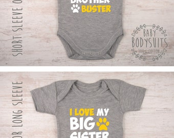 Dog Lover Gift, I Love My Big Brother / Sister Personalized Gray Baby Bodysuit, Dog Big Brother / Dog Big Sister Shirt, Funny Baby Shirt