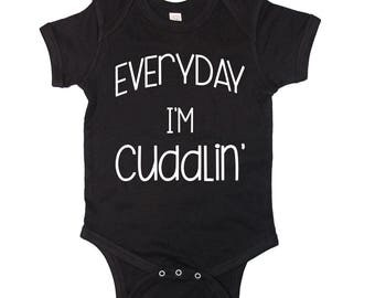 Everyday I'm Cuddlin Baby Onesie, funny baby onesie , Creeper, Infant Bodysuit. Baby Shower Gift.