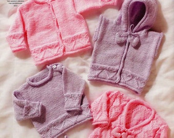 "King Cole Knitting Pattern 2884~Hearts Hoody, Sweater, Cardigans & Hat~DK~12-22"""