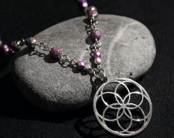 Necklace chain silver with purple beads with pendant mandala