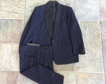 1940s 50s Midnight Blue Shawl Collar Wool Tuxedo 40R Ivy League Trad One Button