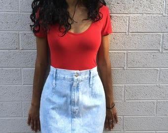 Vintage High Waisted Denim Skirt; 90s 1990s Stone Wash Pencil Skirt XS