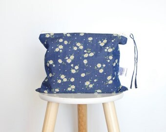 Daisy Denim Nappy Clutch, Diaper Clutch, Nappy Bag, Floral Clutch, Mama Clutch