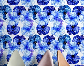 BLUE PETUNIA pattern temporary wallpaper, Blue floral wallpaper, Large flower wall mural, 241