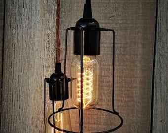 Minimalist Industrial Pendant Lighting, Caged Lighting, Industrial Lighting, Pendant Lighting, Edison Lighting, Home Decor