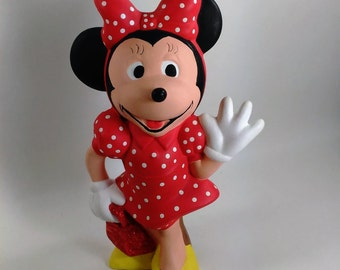"Walt Disney Production/Ceramic Minnie Over 8"" High in Red Dress with White Poka Dots, Red Bag/Yellow Shoes/Poka Dot Bows"