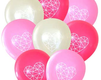 Geometric Heart Balloons Baby Girl - Pack of 8 | Himmeli Birthday Decorations Bridal Baby Shower Boho Bohemian String Art Dream Catcher