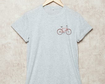 Bicycle Shirt Pocket Bike Shirts Bicycles Tshirt T-Shirt Gift Size S , M , L , XL , 2XL , 3XL Grey White